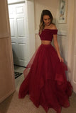 Red Two Pieces Tulle Off Shoulder Prom Dresses Cheap, Long Party Gowns, M269