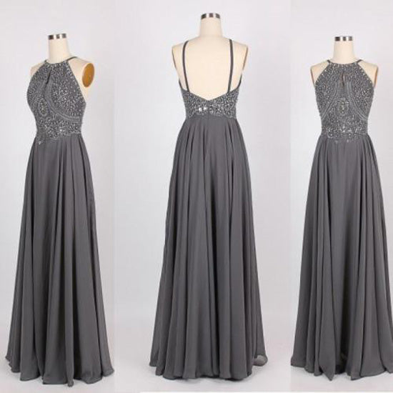 Grey Chiffon Halter Long Prom Dresses with Beading Homecoming Formal Dress for Girls from simidress.com