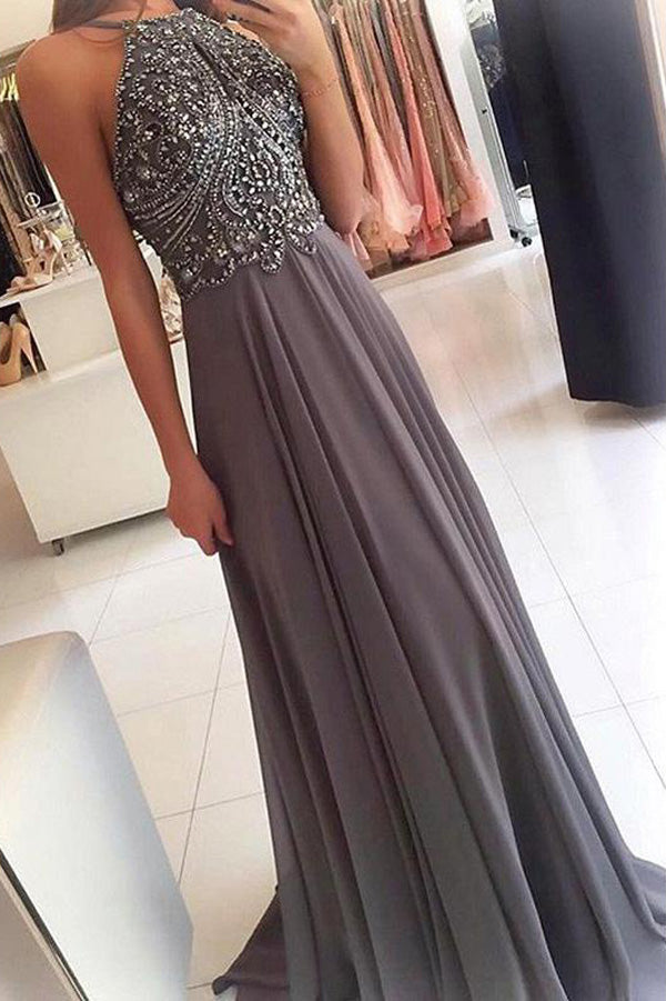 Grey Chiffon Halter Long Prom Dresses with Beading Homecoming Formal Dress for Girls, M270