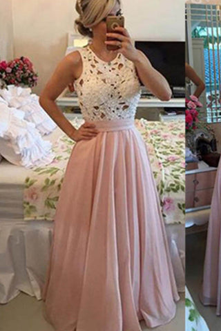 High Neck Pink A-line Floor-length Chiffon Long Prom Dresses Party Dress M271
