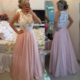 High Neck Pink A-line Floor-length Chiffon Long Prom Dresses Party Dress from simidress.com