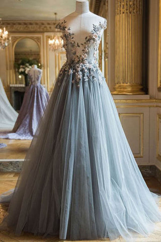 Grey Tulle A-line Long Prom Dresses Evening Dresses Formal Dresses with Flowers, M272
