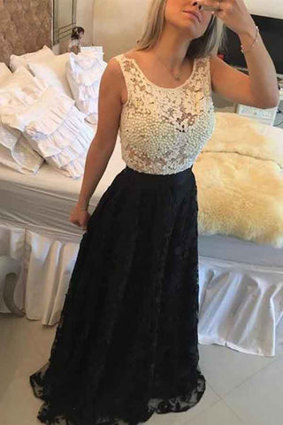Pearls Black A-line Lace Jewel Sleeveless Long Prom Dress, Evening Dresses, M273
