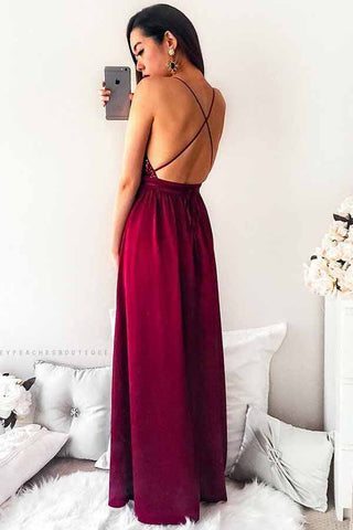 247acefea7d Dark Red Spaghetti Straps Pleated Long Prom Dress with Sequins ...
