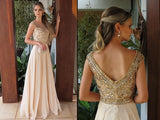 Elegant Chiffon Round Neck Cap Sleeves Long A Line Prom Dress with Beading at simidress.com
