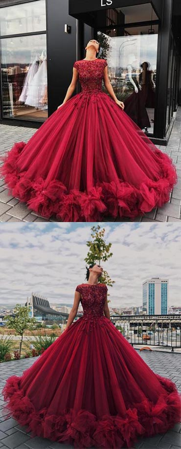 Simidress offer Red Tulle Ball Gown Prom Dress With Appliques, Sweet 16 Dress, Quinceanera Dresses, M278