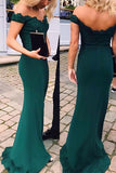 Green Off-shoulder Floor-length Mermaid Party Dress, Long Prom Dresses With Appliques, M279