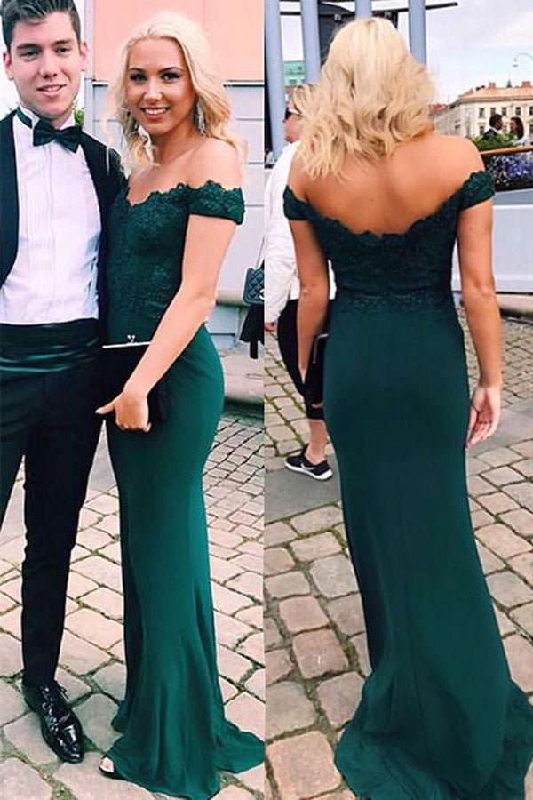 Green Off-shoulder Floor-length Mermaid Party Dress, Long Prom Dresses With Appliques at simidress.com