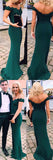 Green Off-shoulder Floor-length Mermaid Party Dress, Long Prom Dresses With Appliques|simidress.com