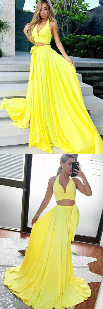 Charming Yellow Satin Two Piece V-Neck Long Prom Party Dresses with Split from simidress.com