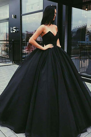 Chic Black Ball Gown Long Prom Dresses, Evening Dresses Party Dress, M282