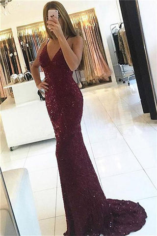 Shiny Burgundy V-neck Mermaid Straps Backless Sequined Long Prom Dresses, M283