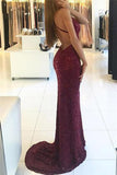 Shiny Burgundy V-neck Mermaid Straps Backless Sequined Long Prom Dresses, M283 at simidress.com