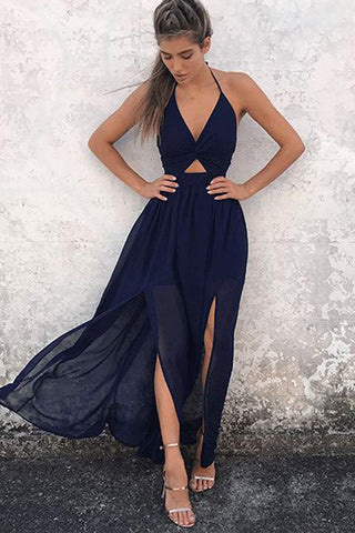 Navy-Blue Chiffon A-Line Halter Backless Prom Dresses, V-neck Prom Gowns, M284