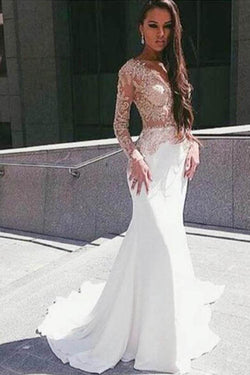 White Illusion Mermaid Long Sleeve Floor Length Prom Dress With Appliques, M285