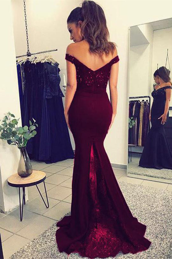 Fabulous Burgundy Lace V-neck Mermaid Long Prom Dresses Party Dress with Beading, M286 at simidress.com