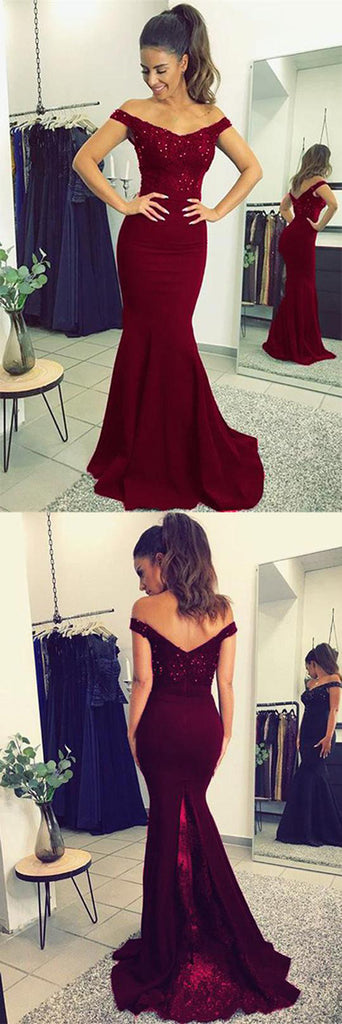 Fabulous Burgundy Lace V-neck Mermaid Long Prom Dresses Party Dress with Beading|www.simidress.com