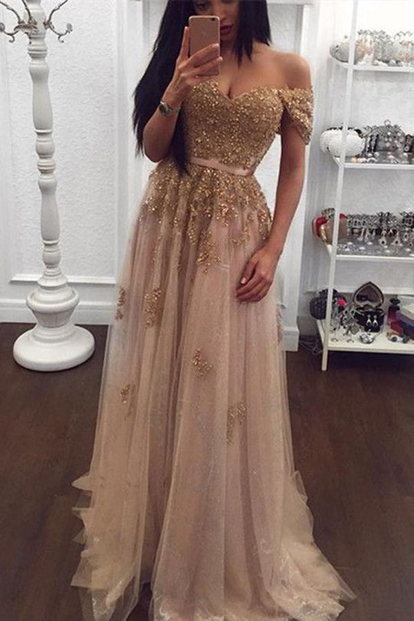 Gold Tulle Beaded Lace Sweetheart Off Shoulder Long Prom Dress Evening Gowns, M287