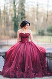 Charming Burgundy Tulle A-line Long Puffy Strapless Prom Dresses With Appliques, M288