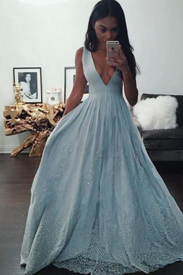 Light Blue A-line Sleeveless Deep V-neck Long Prom Dresses, Formal Dress with Lace, M290