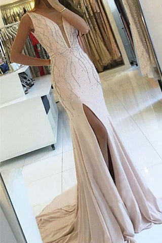 Pearl Pink Backless Sheath V-Neck Sweep Train Long Prom Dress with Beading, M292
