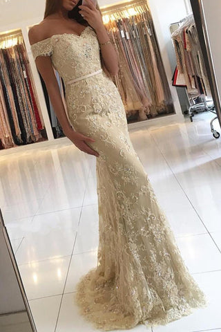 Gold Lace Mermaid Off Shoulder Long Prom Dresses, Party Prom Dress, Formal Dress, M295