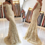 Gold Lace Mermaid Off Shoulder Long Prom Dresses, Party Prom Dress, Formal Dress, M295 at simidress.com
