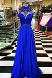 Royal Blue High Neck Long Prom Dress Evening Dresses Formal Dress with Beading, M294 at simidress.com
