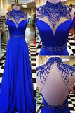 Royal Blue High Neck Long Prom Dress Evening Dresses Formal Dress with Beading, M294