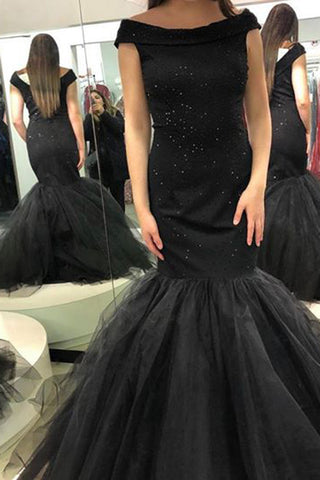 Gorgeous Cap Sleeve Mermaid Tulle Long Prom Dress with Beading Prom Gowns, M296