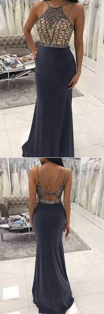 Grey Mermaid Round Neck Floor-Length Long Prom Dress with Beading, M297 sold by Simidress