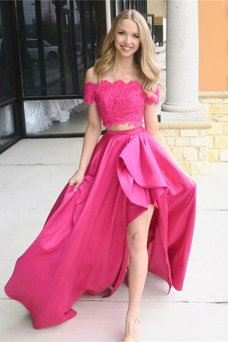 Fashion Two Piece Off Shoulder Long Prom Dress with Lace, Satin Formal Dresses, M300
