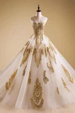 Ivory A line Wedding Dress, Lace Quinceanera Prom Dresses with Gold Appliques, M307