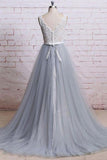 Ivory Lace Bodice Grey Tulle Skirt V-neck Prom Dresses With Chapel Train, M308
