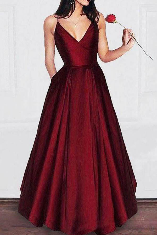 Burgundy A-line V-neck Spaghetti Strap Long Prom Dresses Evening Gowns, M309