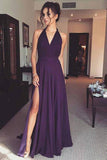 Purple Simple V Neck Chiffon Long Prom Dress With Side Slit, Evening Dress, M313