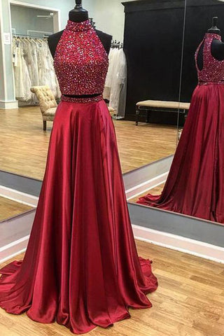 Dark Red Beaded Halter Open Back Long Prom Dresses With Side Slit, M316