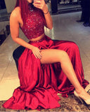 Dark Red Beaded Halter Open Back Long Prom Dresses With Side Slit, M316 at simidress.com