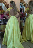 Tulle Silk-like Satin A-line Scoop Appliques Lace Long Sleeve Prom Dresses, M318 at simidress.com