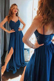 Simple Blue Spaghetti Straps V neck Long Prom Dresses with Side Slit, M320