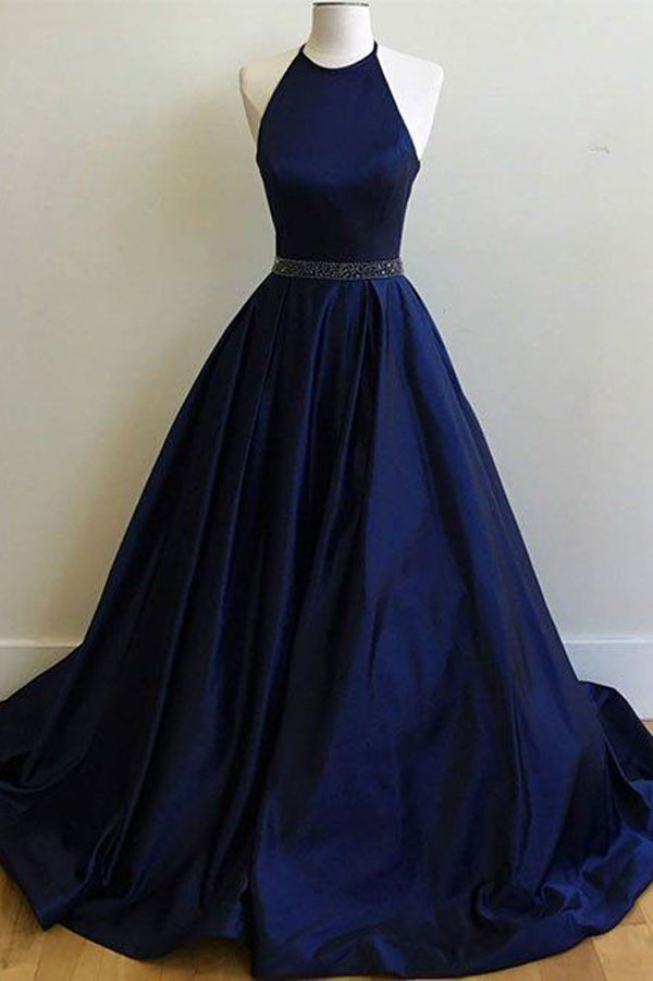 Simple Dark Blue Halter Satin A-line Long Prom Dresses, Evening Dress, M321