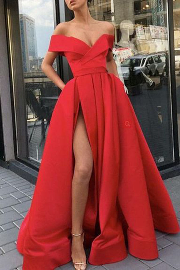Red Satin Off Shoulder Long Prom dress With Side Slit, Formal Gowns, M323