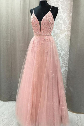 Blush Lace A-line V Neck Open Back Spaghetti Straps Long Prom Dresses, M324
