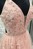 Blush Lace A-line V Neck Open Back Spaghetti Straps Long Prom Dresses, M324 at simidress.com