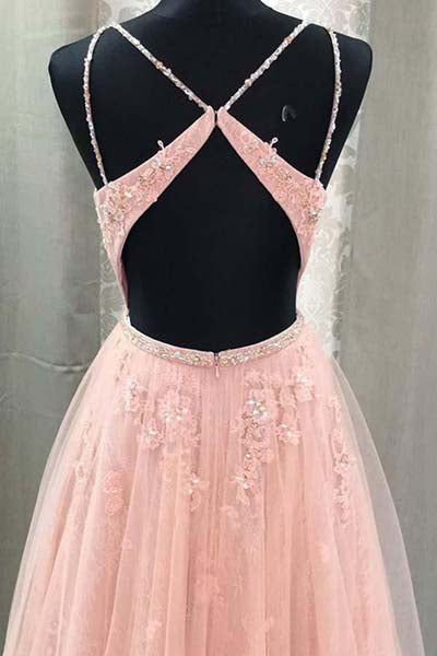 Blush Lace A-line V Neck Open Back Spaghetti Straps Long Prom Dresses, M324 sold by simidress.com