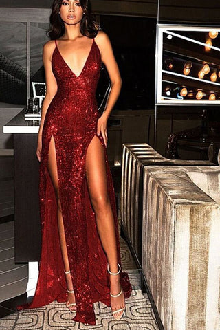 907648cecb Fabulous Sequins Burgundy V Neck Backless Long Prom Dress with Slit ...