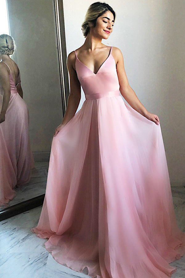 Charming Simple Pink V Neck Chiffon Long Prom Dress, Evening Dresses, M327