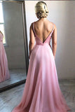 Charming Simple Pink V Neck Chiffon Long Prom Dress, Evening Dresses, M327 at simidress.com