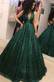 Shinny Green Sequined Halter V-Neck Ball Gown Long A-Line Prom Dresses, M329