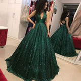 Shinny Green Sequined Halter V-Neck Ball Gown Long A-Line Prom Dresses, M329|simidress.com